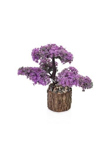 Çiçekmisin Taşlı Kütükte Minyatür Yapay Ağaç Mor